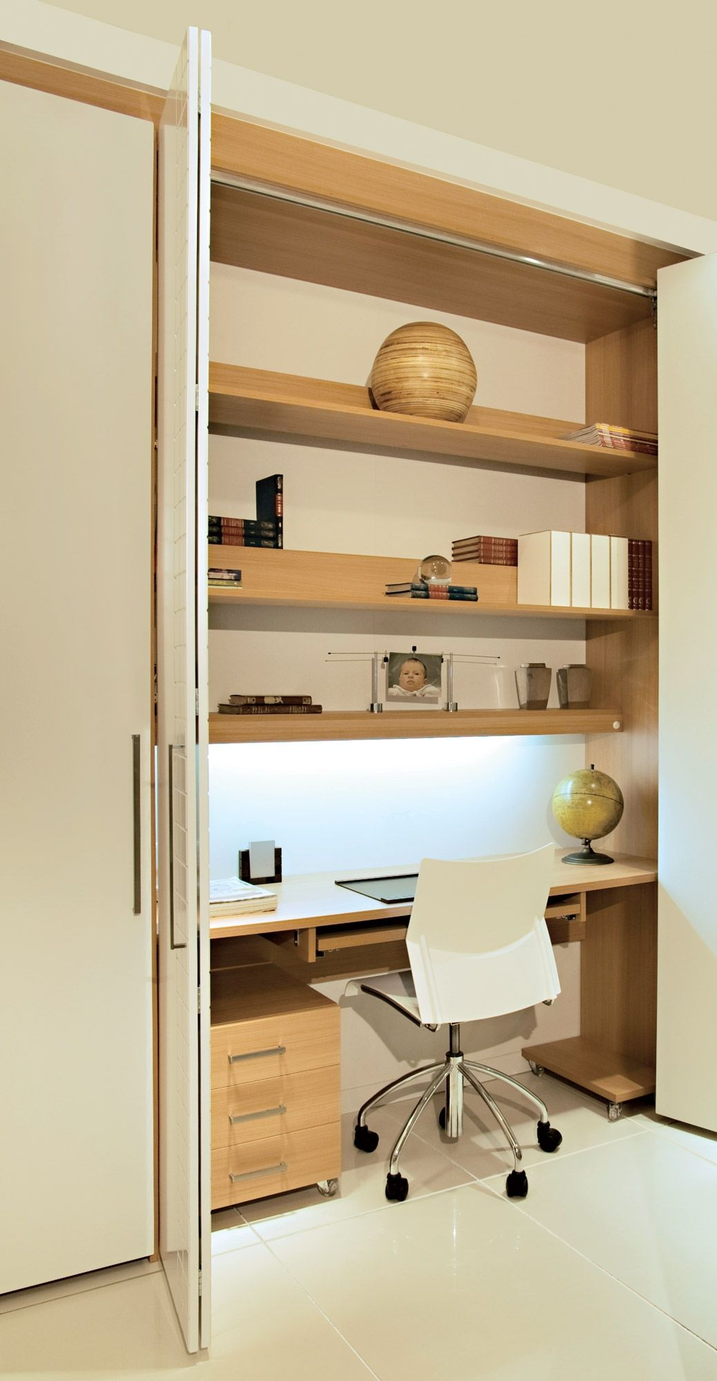 having a desk area that can be completely closed up and locked home office inside a closet