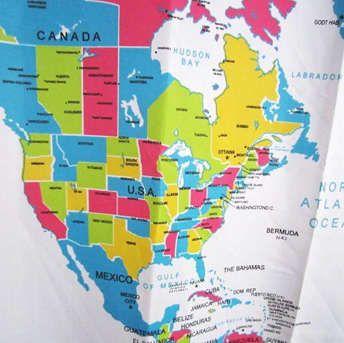 World map pattern bathroom waterproof fabric shower - Cortina bano mapamundi ...