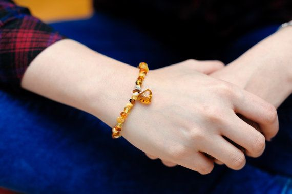 Genuine Natural Baltic Amber Bracelet Heart by AmberCharmUK