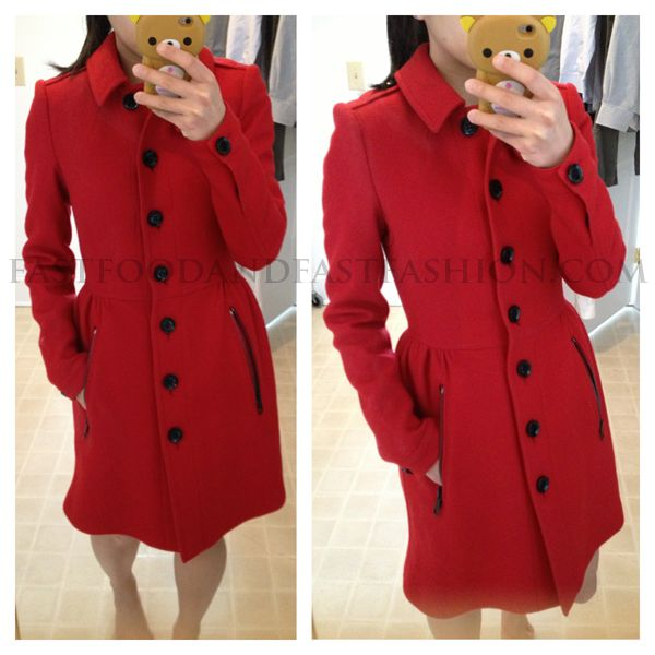 Burberry Brit Wool Twill Dress Coat in red | Fashion - Jackets ...