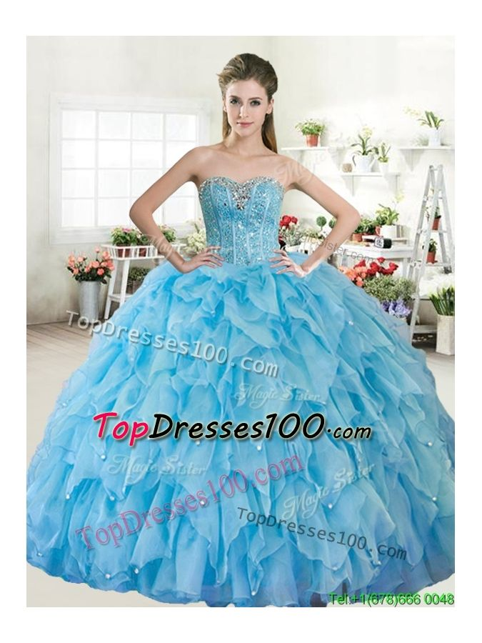 1d1e4e32696 Wonderful Big Puffy Baby Blue Quinceanera Dress with Beading and Ruffles -  US 223.89