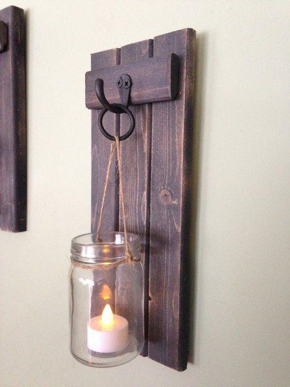 """Kerzenhalter aus Holz, rustikale Wandleuchte, Einmachglas Kerzenhalter, Wandleuchte aus Holz, Wandleuchte, WHEATHERED BLACK, 5 """"x 12"""" 2er-Set   – 装飾"""