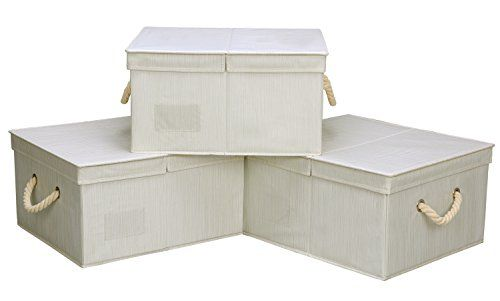 StorageWorks Polyester Canvas Storage Box With Lid And St..