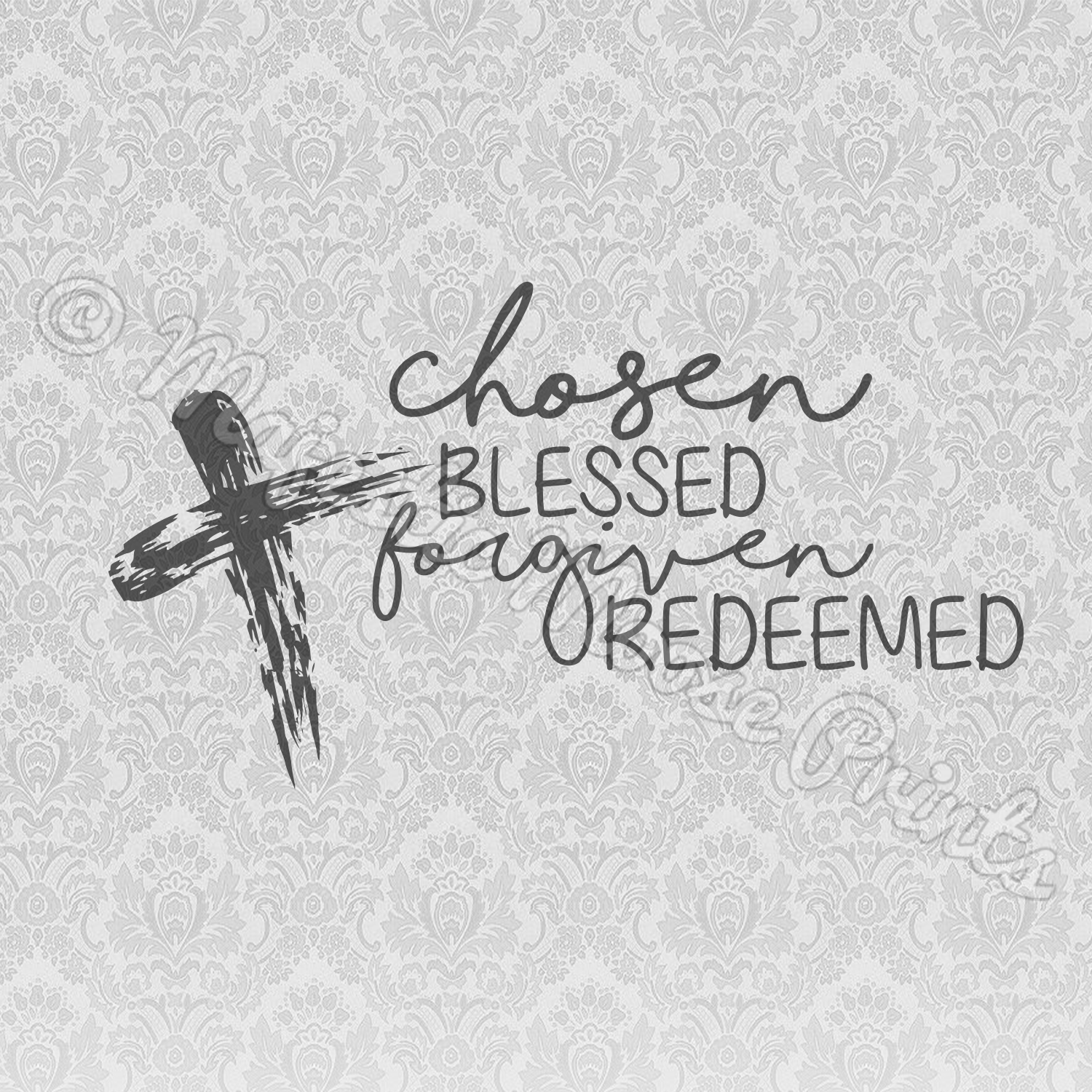 Chosen Blessed Redeemed SVG Christian Quote