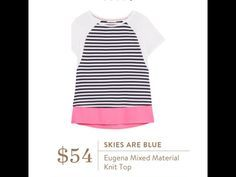 skies are blue eugena mixed material shirt - cute for spring/summer