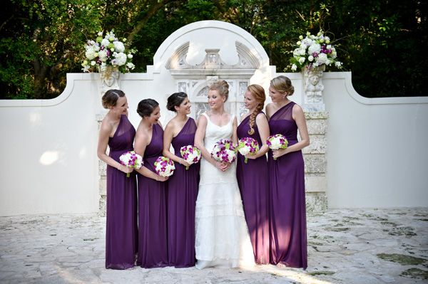 Bride With Bridesmaids In Purple Dresses At Bonnet House Fort