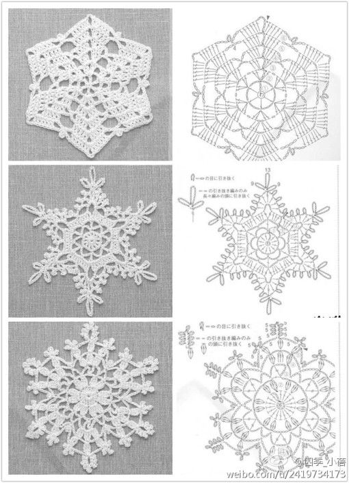 Crochet snowflakes with charts please repin & like. Hear Noelito ...