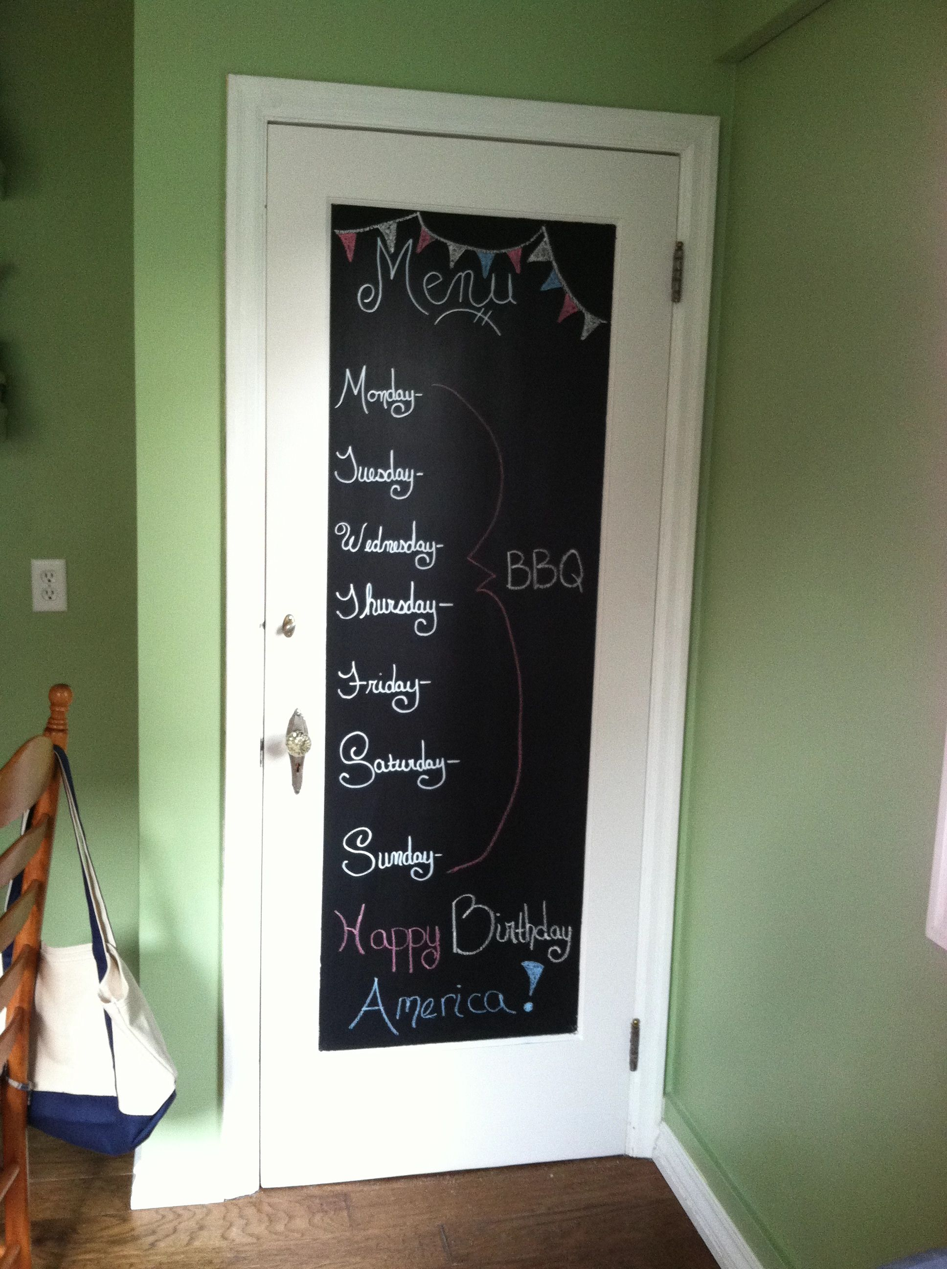 My Kitchen Door Menu Blackboard I Am Going To Give This As A Project To Dd Who Needs Control Of Something Kitchen Doors Wood Projects Doors