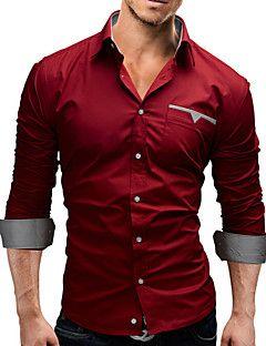 4c8e4fddd7d5f de los hombres más tamaño camisa blanca de manga larga   negro   rojo