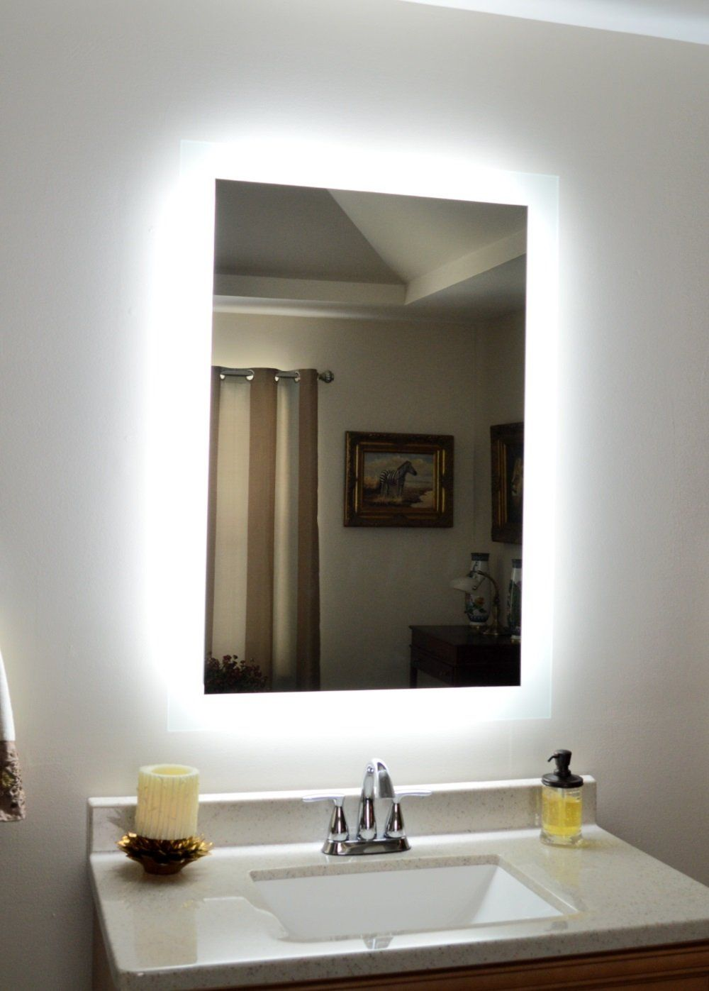 Side Lighted Led Bathroom Vanity Mirror 28 Wide X 44 Tall Rectangular Wall Mounted Bathroom Decor Rustic Bathroom Mirrors Bath Mirror