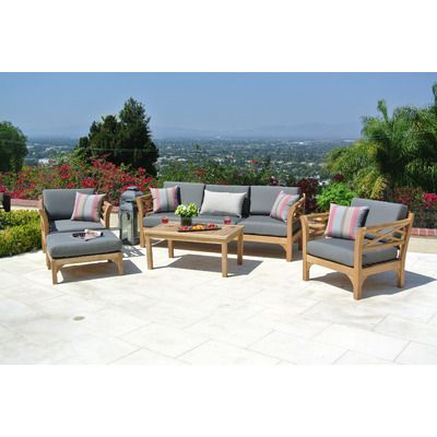 malibu outdoor teak 6 piece sunbrella sofa set with cushions