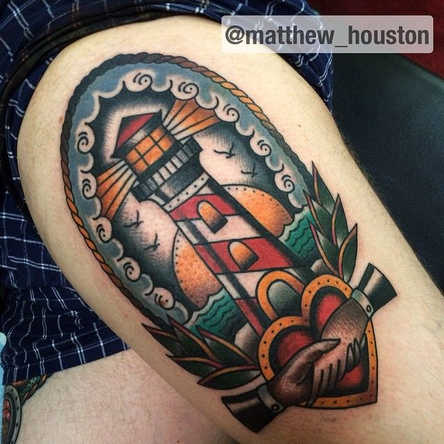 854775c3a3981 Lighthouse today on Filip #lighthouse #handshake #heart #traditional #tattoo  #boldwillhold