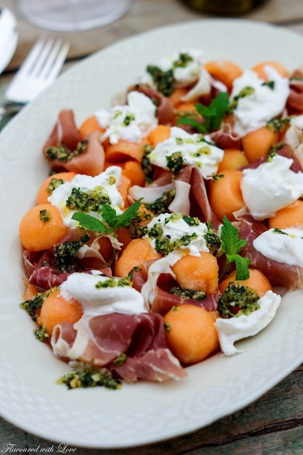 Photo of Melon and Parma ham with burrata and mint pesto