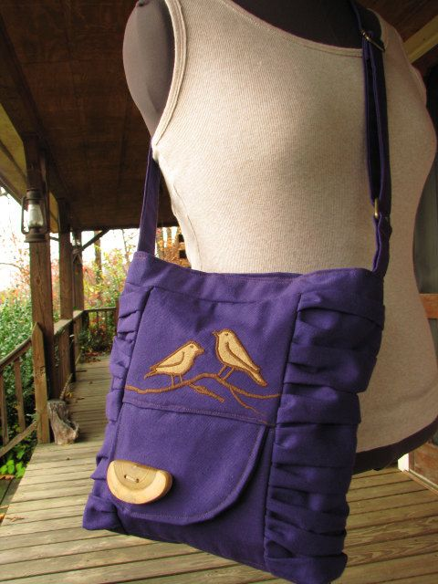 SALE Purple Canvas /OOAK /purse bag tote /bird by LBArtworks, $49.00