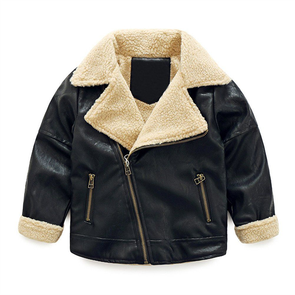 Sprmag Kids Boys Pu Leather Jackets Coats Zip Up Fur Padded Outerwear 6t Black Function Waterproof Windpro Boys Leather Jacket Pu Leather Jacket Boys Jacket [ 1002 x 1002 Pixel ]