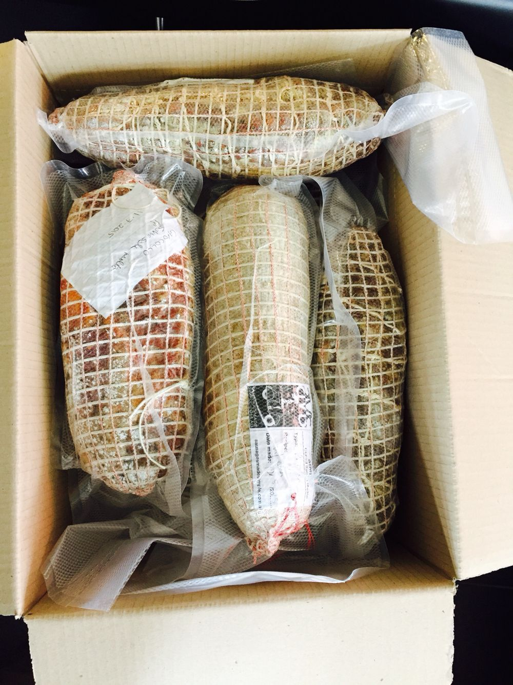 Our Latest Box Of Tricks, Fresh Out Of Our Curing Cabinet #prosciutto  #capocollo #pancetta