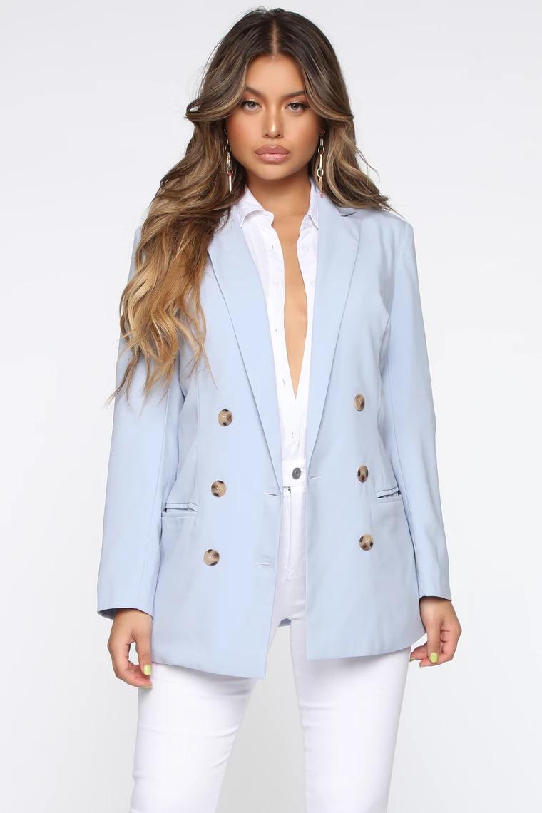 Show Them Who S Boss Blazer Light Blue Blazer Outfits For Women Womens Fashion Blazer Blue Blazer Outfit