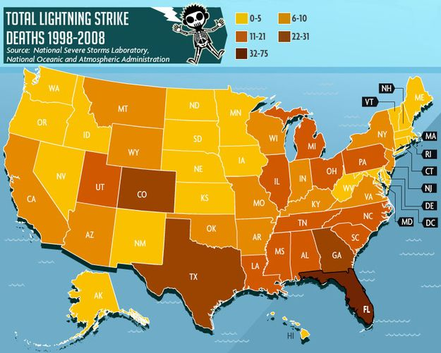 Lightning Strikes Map Florida.Where You Re Most Likely To Die From Lightning Strike Florida