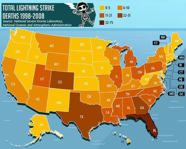 Maps That Show Where Bad Stuff Happens Lightning Strikes - Lightning strike map