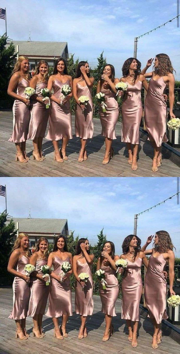 SSR0360,beauty sleeveless v-neck spaghetti-straps satin slit-skirt tea length bridesmaid dress