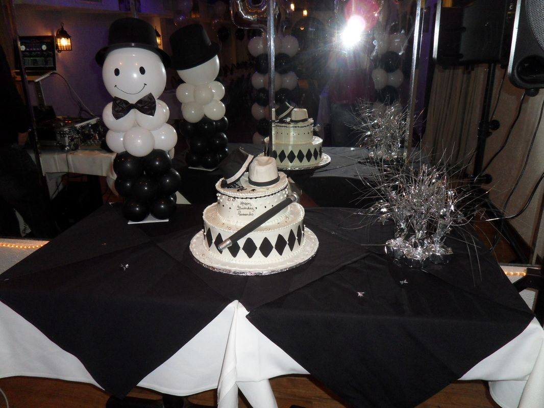 black and white balloon centerpieces with top hat. Draw face on white  balloon with sharpie.
