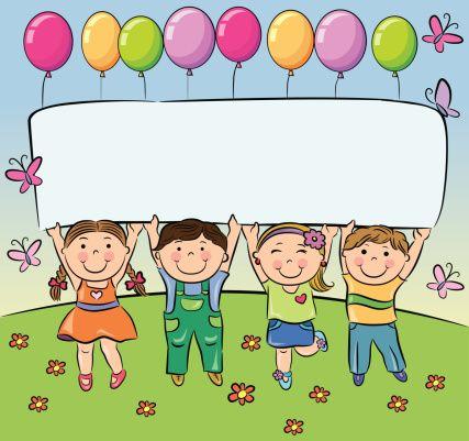 Verão Crianças Segure Em Branco Banner Ilustração De Arte Em Vetor