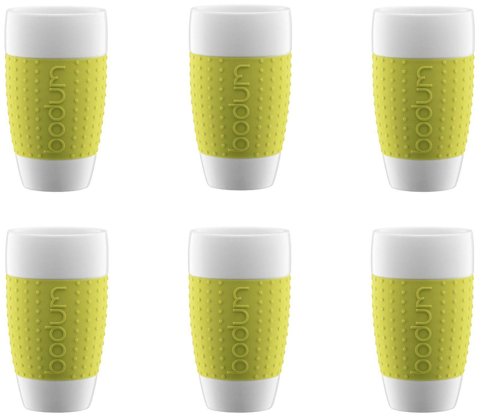Great Bodum 17 Oz Pavina Porcelain Cups W/ Silicone Grip (Set Of