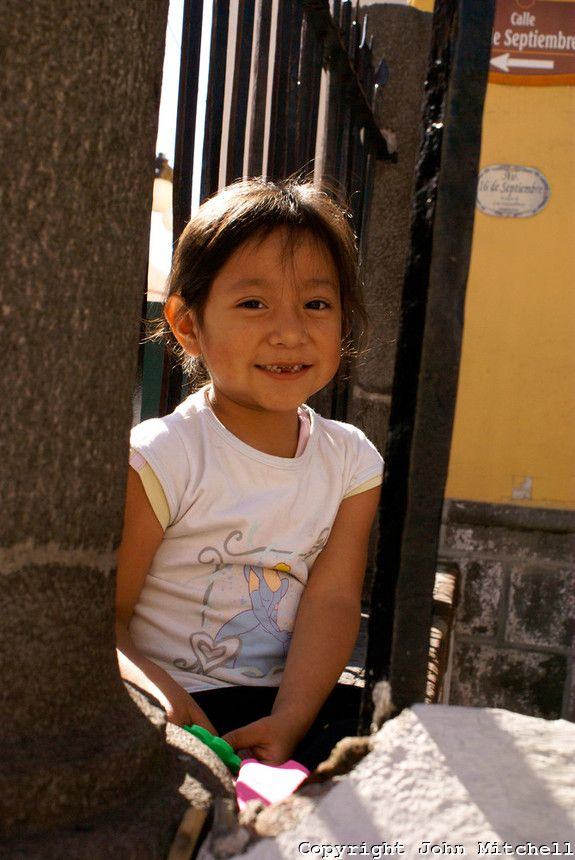 Young Mexican girl in the city of Puebla, Mexico. The