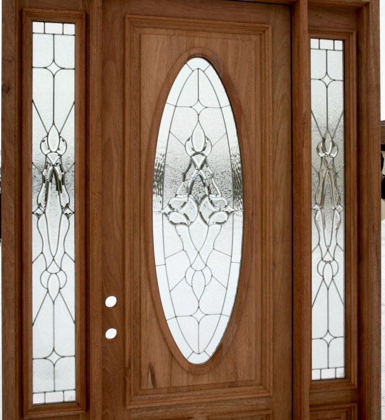 Wooden Entry Door With Oval Glass Plus Side Light With