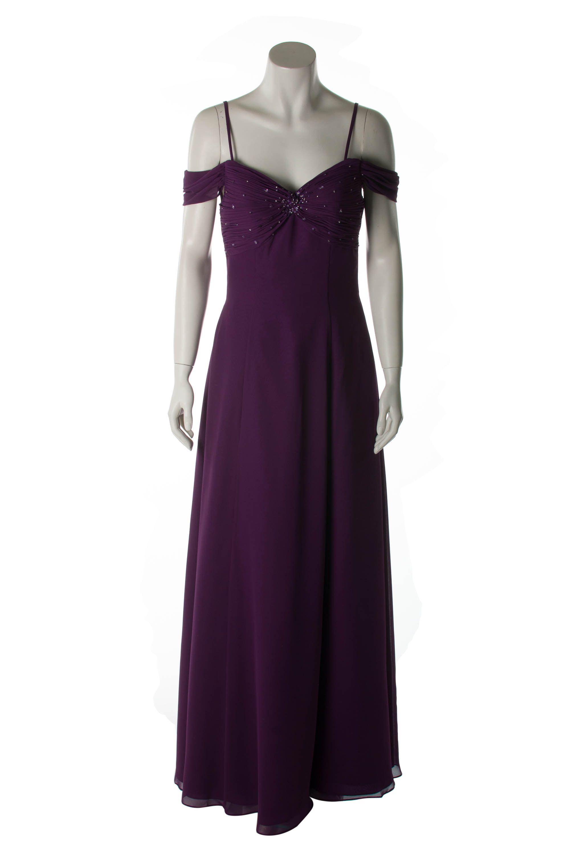 Luftiges Abendkleid in Aubergine/Lila Langes, leichtes Sommerkleid