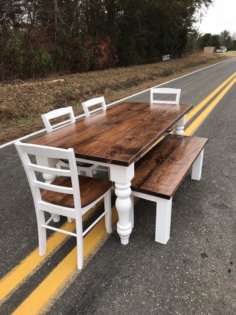 Turned Leg Dining Room Kitchen Table Set Chunky Leg