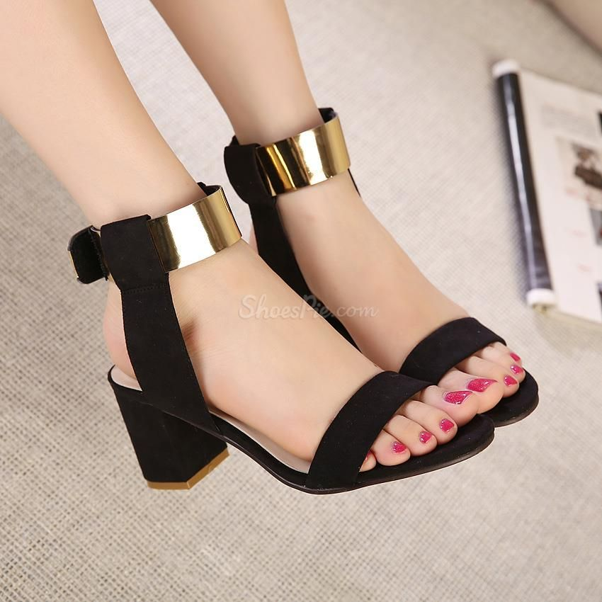 Stylish Contrast Color PU Metal Ankle Strap Flat Sandals