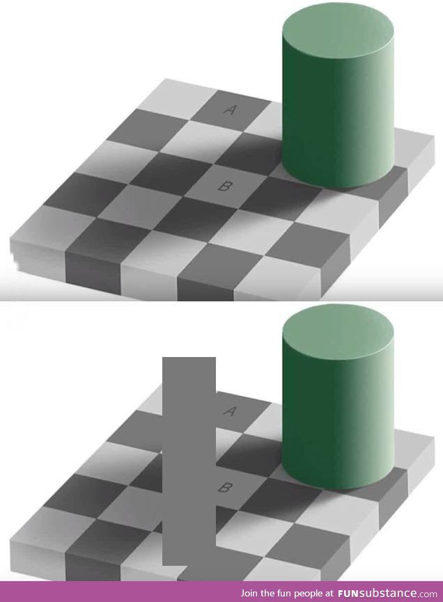 Optical Illusion The Squares A And B Have The Same Color