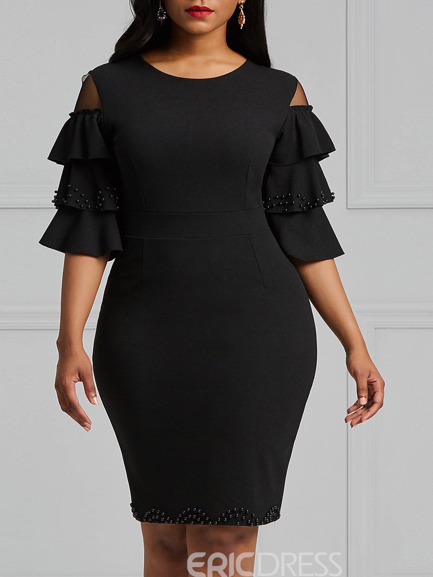 Ericdress Flare Bead Sleeve Bodycon Women S Dress Women Lace Dress African Print Fashion Dresses African Fashion Women Clothing [ 2400 x 1800 Pixel ]