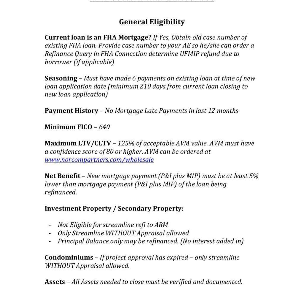 New Fha Streamline Refinance Worksheet And Hud Fha