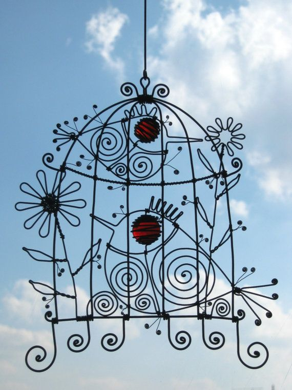 Wire Birdcage In Red