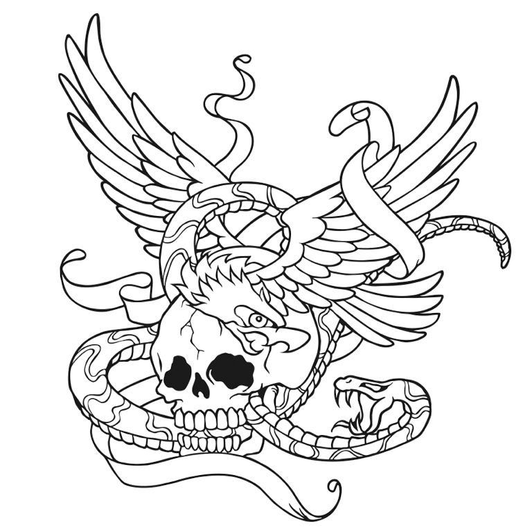 Skull With Wings And Snake Coloring Page Tattoo | Colorfy App