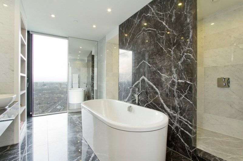 Groovy Bathroom With Marble Walls And Flooring Interior Black Download Free Architecture Designs Lukepmadebymaigaardcom