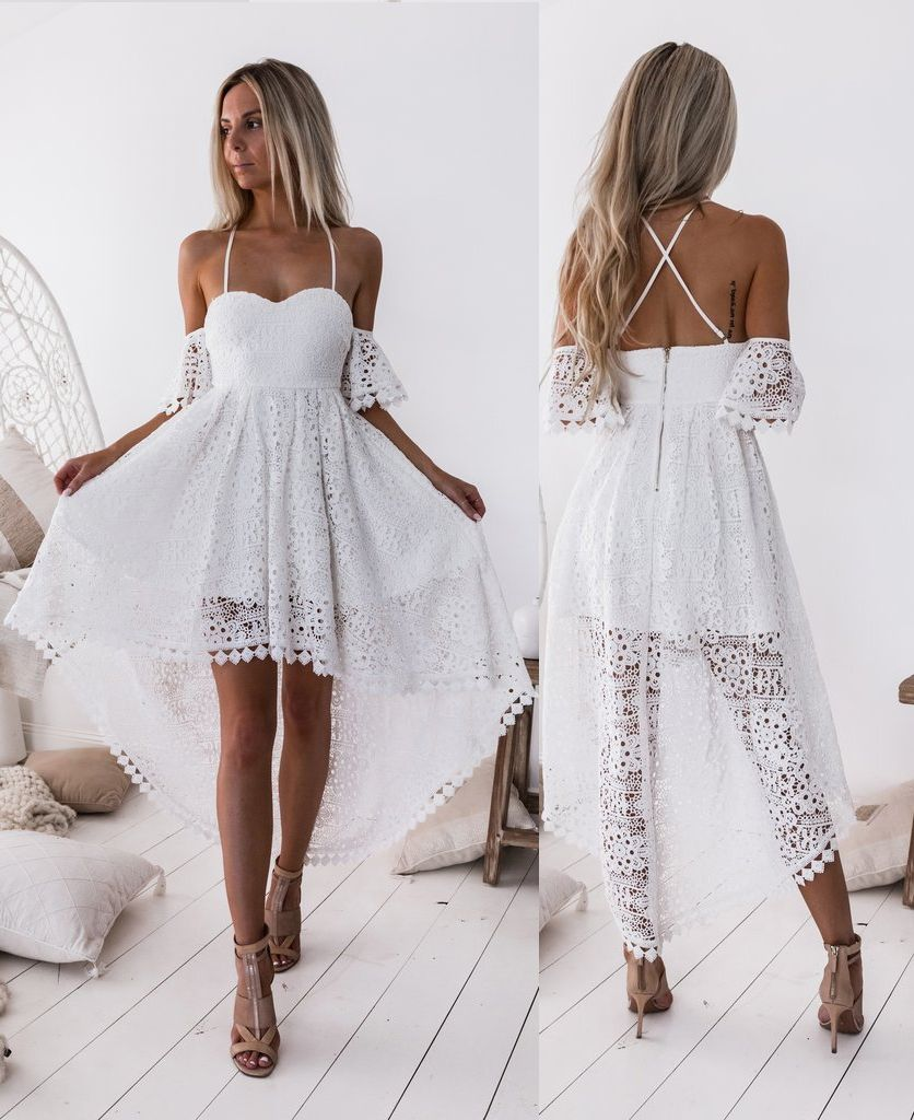 A Line Off The Shoulder White Lace High Low Homecoming Dress White Lace Party Dress Lace Homecoming Dresses White Dress Party [ 1024 x 836 Pixel ]