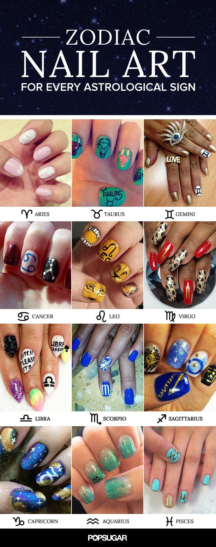 Zodiac Nail Art Ideas That Are More Spiritual Than Your Horoscope Zodiac Nail Designs Nail Art Zodiac Signs Stylish Nails Art