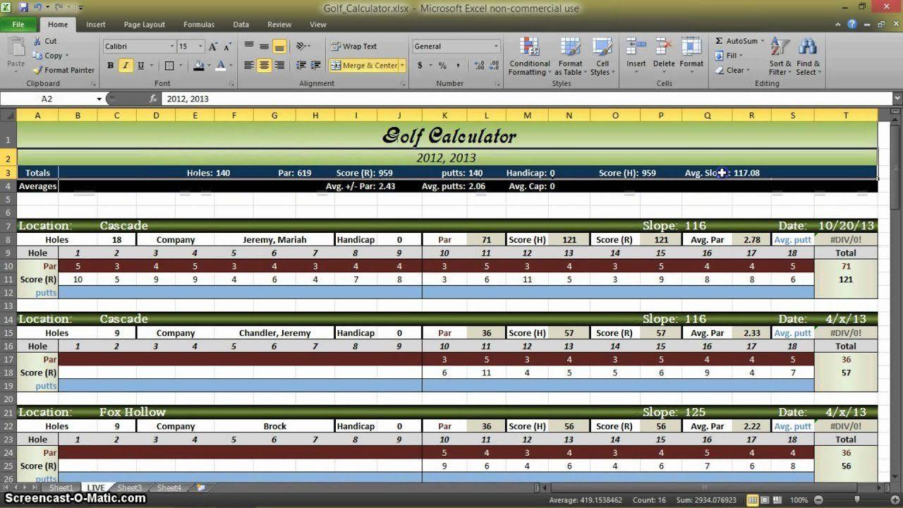 Golf Stats Spreadsheet