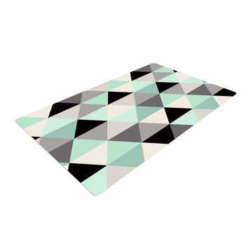 "Black And Green Area Rugs crystal walen ""triangle geo mint "" teeal black woven area rug"