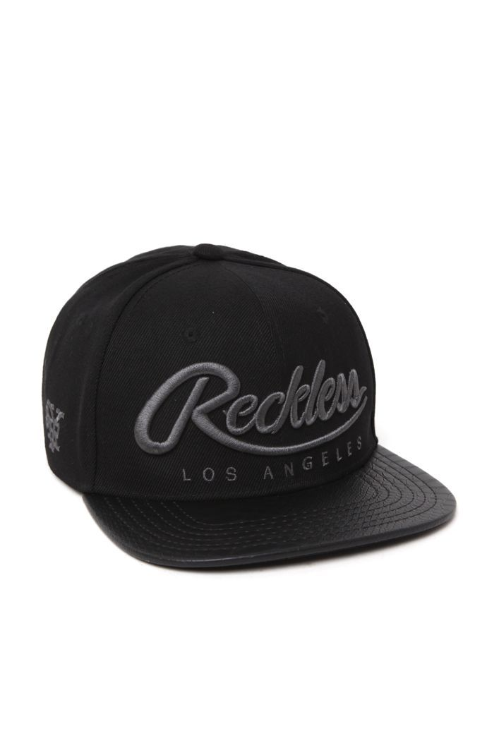 Young And Reckless Big R Gray Script Washed Snap back Cap Hat