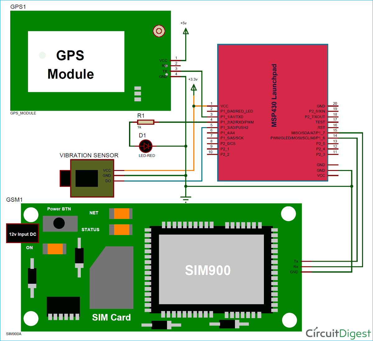 circuit diagram for vehicle tracking and accident alert system using msp430and gps [ 1200 x 1097 Pixel ]