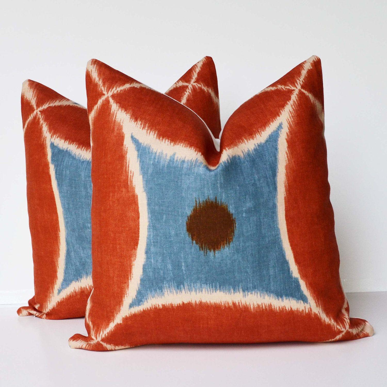 Two xuu accent pillow decorative pillow blue orange ikat throw