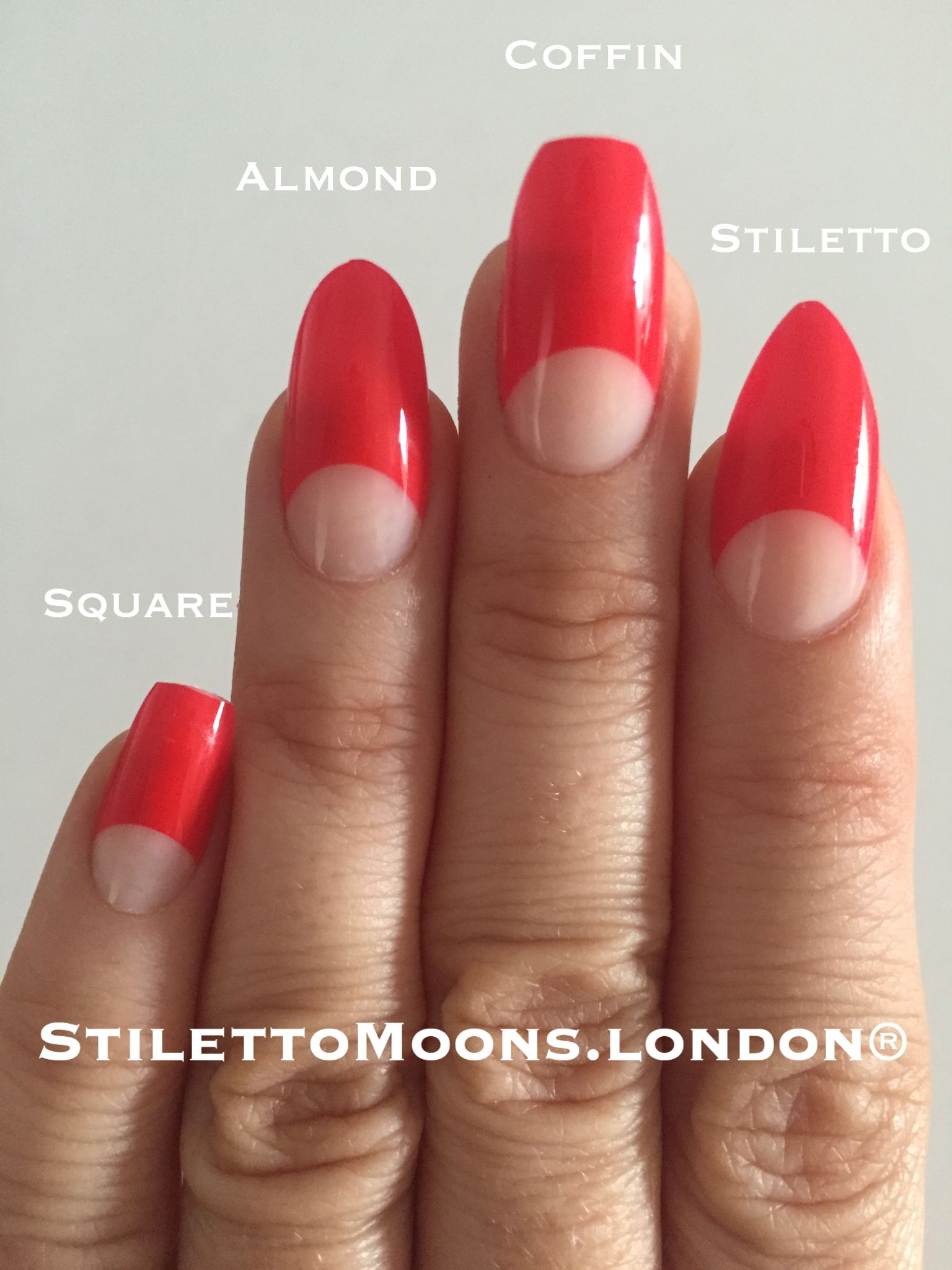 Coffin almond stiletto square nail shapes. All our nails can be made ...