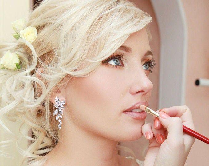Crystal Bridal Earrings Drop Earrings Rose Gold Wedding | Etsy