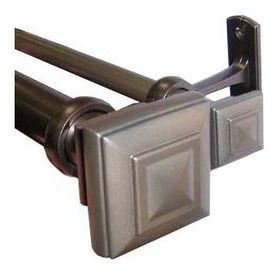 Allen + Roth 72 In To 144 In Oiled Pewter Metal Double Curtain Rod