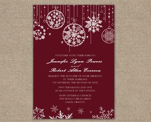 Winter Christmas Wedding Invitations Christmas Wedding