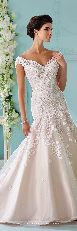 Vintage cowl neck wedding dress  David Tutera for Mon Cheri Fall  Collection  Style No